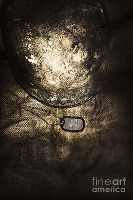 Medallion Photograph - Dramatic Dog Tags And Military Helmet Still Life by Jorgo Photography - Wall Art Gallery