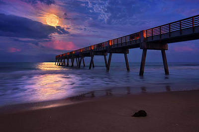 Photograph - Dramatic Full Moon Rising Over Vero Beach Pier by Justin Kelefas