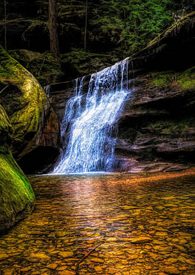Mixed Media - Dramatic Hocking Hills Waterfall by Dan Sproul
