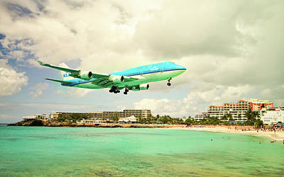 Photograph - Dramatic Landing At St Maarten by Nick Mares