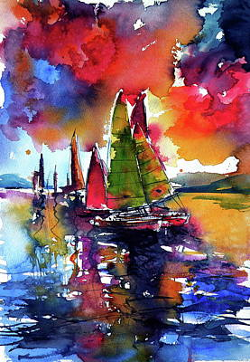 Painting - Dramatic Mood With Sailboats by Kovacs Anna Brigitta