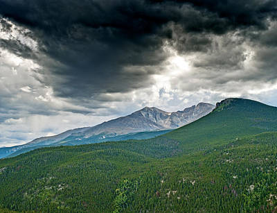 Dramatic Skies In Rocky Mountain National Park Colorado Print by Brendan Reals