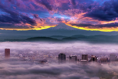 Wall Art - Photograph - Dramatic Sunrise Over Foggy Downtown Portland by David Gn