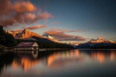 Photograph - Dramatic Sunset At Maligne Lake by Pierre Leclerc Photography