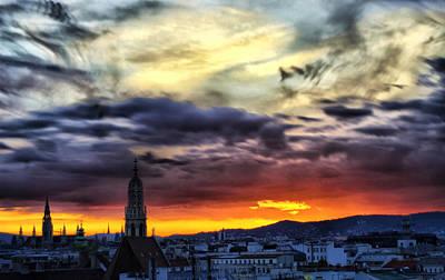 Jonny Jelinek Royalty-Free and Rights-Managed Images - Dramatic Sunset Clouds Over Vienna by Jonny Jelinek