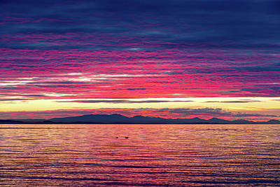 Photograph - Dramatic Sunset Colors Over Birch Bay by David Gn