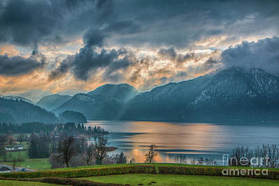 Photograph - Dramatic Sunset Over Mondsee, Upper Austria by Jivko Nakev