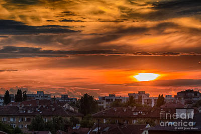 Dramatic Sunset Over Sofia Art Print by Jivko Nakev