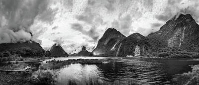 Photograph - Dramatic Weather At Milford Sound In Black And White by Daniela Constantinescu