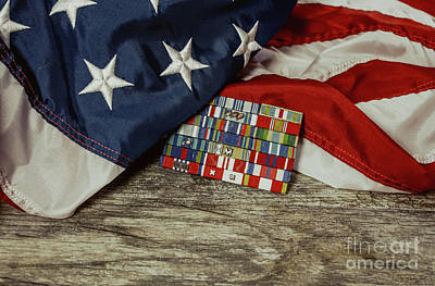 Photograph - Draped Flag With Medals by Liz Masoner
