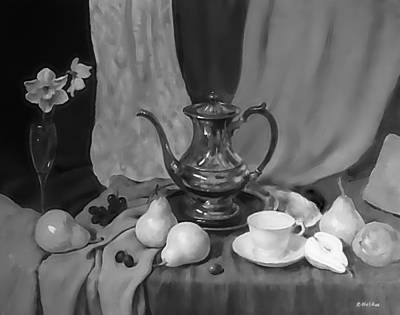 Painting - Drapery, Fruit And Silver Coffeepot by Robert Holden