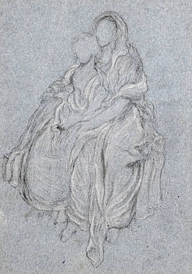 Frederic Leighton Drawing - Drapery Study Of The Seated Girls Watching The Festival Procession In The Daphnephoria by Frederic Leighton