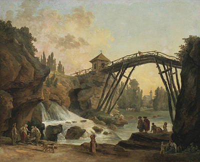 Painting - Draughtsman Drawing The Wooden Bridge In The Park Of Mereville by Hubert Robert
