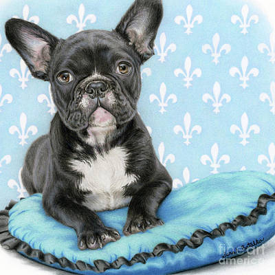 French Bulldog Painting - Draw Me Like One Of Your French Girls- Square Format by Sarah Batalka