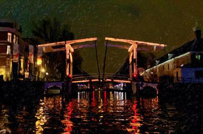 Drawbridge Over Amsterdam Canals Art Print