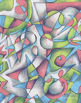 Abstract Shapes Drawing - Drawing 2 by Carolyn Alston Thomas