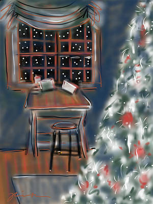 Art Print featuring the painting Drawing Board At Christmas by Jean Pacheco Ravinski