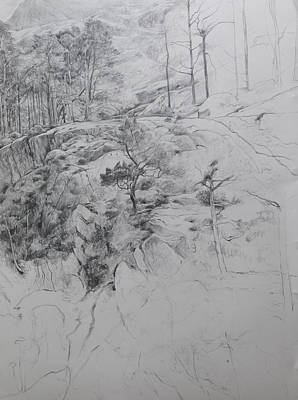 Pencil Drawing Waterfall Drawing - Drawing By Ogwen. by Harry Robertson