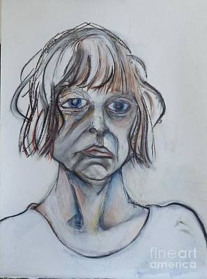 Self-portrait Mixed Media - Drawing For In Blue by Carolyn Weltman