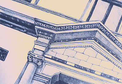 Simplicity Drawing - Drawing Illustration Of Building Detail Of Classical Entrance  by Oana Unciuleanu