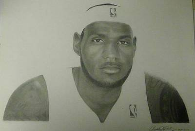 Lebron James Drawing - Drawing Lebron James by Chadd Dudley