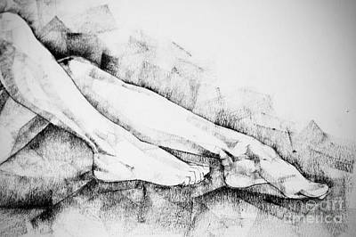 Drawing - Drawing Legs Of Beautiful Girl by Dimitar Hristov