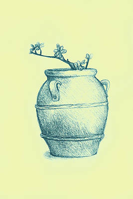 Drawing Of A Tree Branch In A Flower Pot Art Print