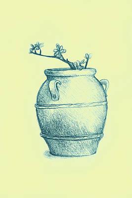 Tangerines Drawing - Drawing Of A Tree Branch In A Flower Pot by Oana Unciuleanu