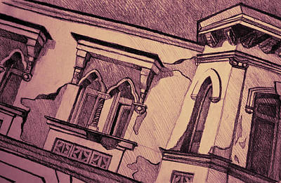 Medieval Temple Drawing - Drawing Of An Old Venetian Palace by Oana Unciuleanu