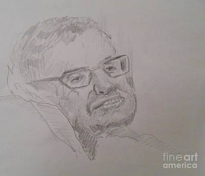 Cosmology Drawing - Drawing Of Stephen Hawking by John Malone