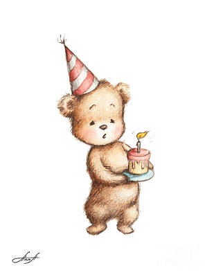 Drawing Of Teddy Bear With Birthday Cake Art Print