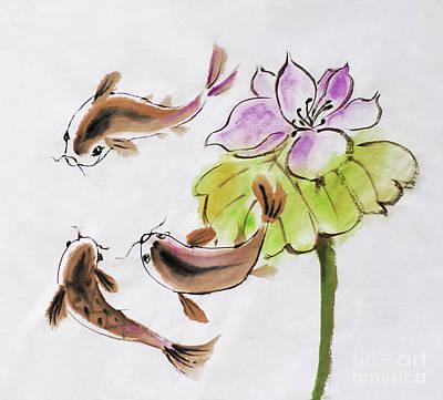 Catfish Drawing - Drawing On Rice Paper by Alla Kolerskaya