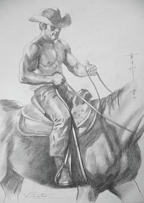 Drawing - Drawing Pencil Cowboy On Horse #17119 by Hongtao Huang