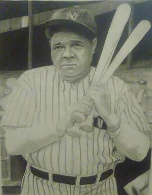 Babe Ruth Drawing - Drawling Babe Ruth by Chadd Dudley