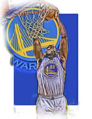 Basket Ball Mixed Media - Draymond Green Golden State Warriors Oil Art by Joe Hamilton