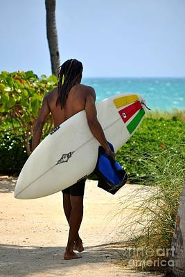 Catch A Wave Photograph - Dreadlocks Surfer Dude by Rene Triay Photography