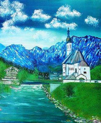 Painting - Dream A Little Dream Of Bavaria St Sabastians Church by Debbie