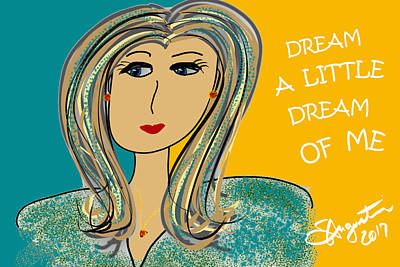 Thinking Of You Drawing - Dream A Little Dream Of Me by Sharon Augustin