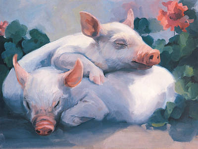 Piglets Painting - Dream Away Piglets by Laurie Hein