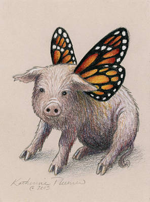 Pig Drawing - Dream Big by Katherine Plumer