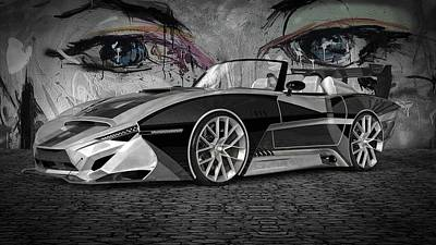 Digital Art - Dream Car In Bw by Louis Ferreira