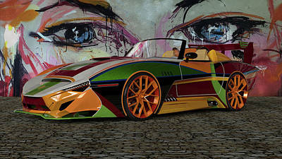 Digital Art - Dream Car In Color by Louis Ferreira