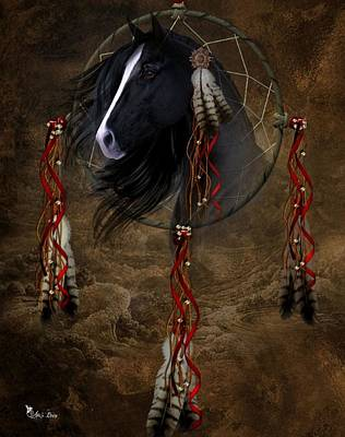 Digital Art - Dream Catcher Black Stalion by Ali Oppy