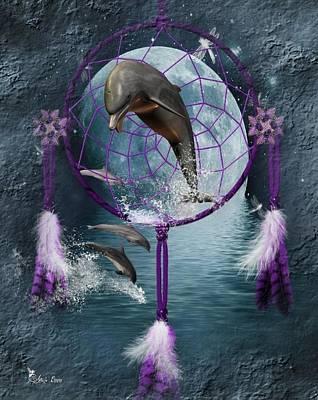 Digital Art - Dream Catcher Dolphins by Ali Oppy