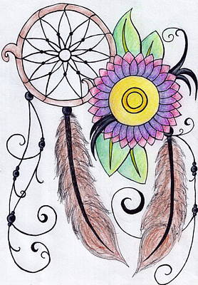 Dreamcatcher Drawing - Dreamcatcher Flower by Perggals - Stacey Turner