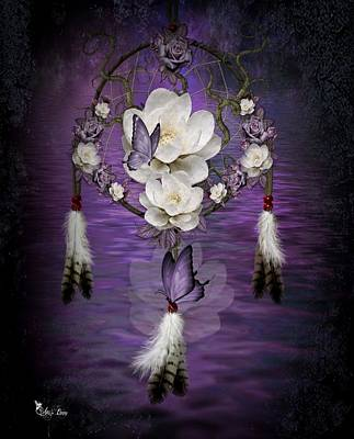 Dream Catcher Purple Flowers Art Print
