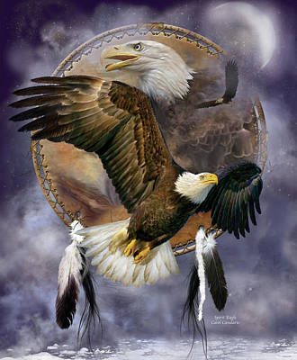 Bird Art Mixed Media - Dream Catcher - Spirit Eagle by Carol Cavalaris
