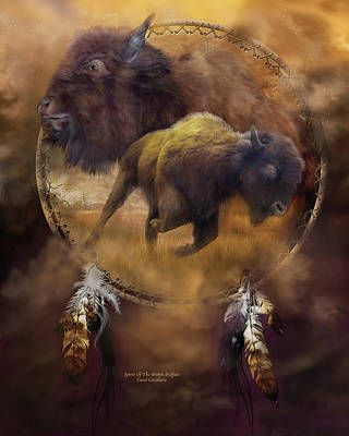 Bison Mixed Media - Dream Catcher - Spirit Of The Brown Buffalo by Carol Cavalaris