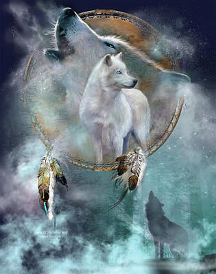Card Mixed Media - Dream Catcher - Spirit Of The White Wolf by Carol Cavalaris