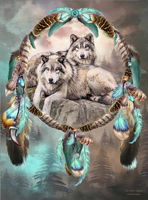 Mixed Media - Dream Catcher - Two Wolves Together by Carol Cavalaris